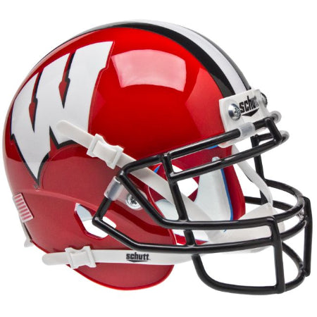 Wisconsin Badgers Red with Black Mask Schutt XP Mini Helmet - Alternate 2