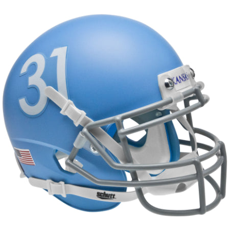 Kansas Jayhawks Matte Columbia Blue Schutt XP Mini Helmet - Alternate 2