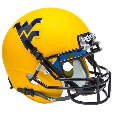 West Virginia Mountaineers Matte Gold Schutt XP Mini Helmet - Alternate 2