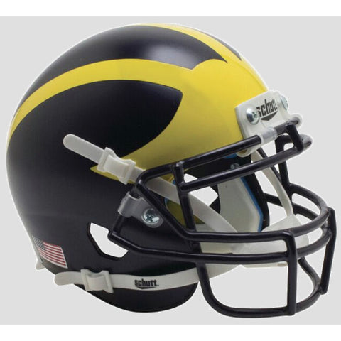 Michigan Wolverines Satin Blue Schutt Mini XP Helmet - Alternate 3