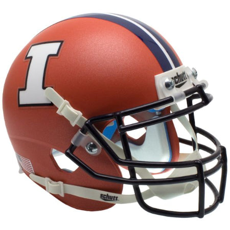 Illinois Fighting Illini Matte Orange Schutt XP Mini Helmet - Alternate 3
