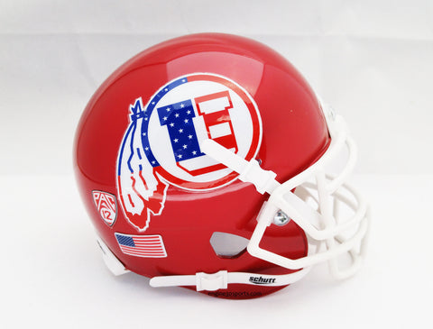 Utah Utes Stars & Stripes Logo Schutt XP Mini Helmet - Alternate 3