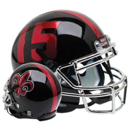 Louisiana Lafayette Ragin Cajuns Black with Chrome Mask Schutt XP Mini Helmet - Alternate 3