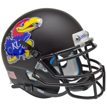 Kansas Jayhawks Matte Black Schutt XP Mini Helmet - Alternate 3