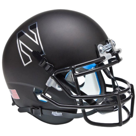 Northwestern Wildcats Matte Black Chrome N Schutt XP Mini Helmet - Alternate 3