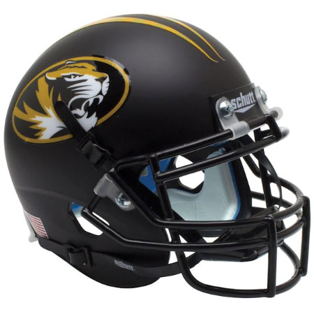 Missouri Tigers Matte Black Schutt XP Mini Helmet - Alternate 3
