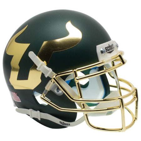 South Florida Bulls Chrome Facemask Schutt XP Mini Helmet - Alternate 4