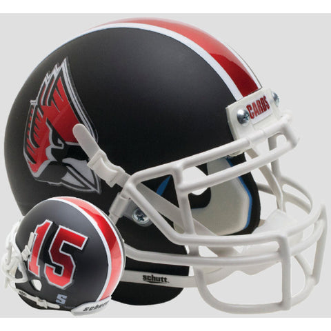 Ball State Cardinals Matte Black with White Mask Schutt XP Mini Helmet - Alternate 4