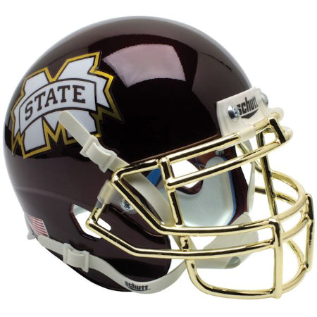 Mississippi State Bulldogs Chrome Gold Facemask Schutt XP Mini Helmet - Alternate 4