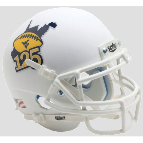 West Virginia Mountaineers Matte White 125 Schutt XP Mini Helmet - Alternate 4