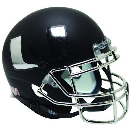 Miami Hurricanes Black with Chrome Mask & Decal Schutt XP Mini Helmet - Alternate 5