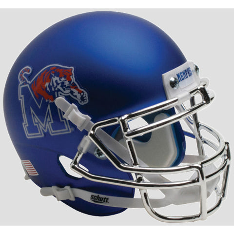 Memphis Tigers Satin with Chrome Mask Schutt XP Mini Helmet - Alternate 5