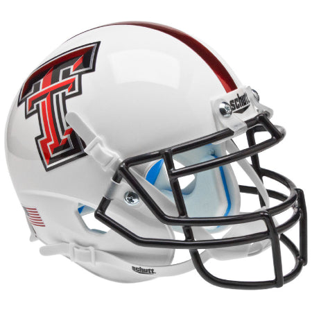 Texas Tech Red Raiders White with Red Stripe Schutt XP Mini Helmet - Alternate 5