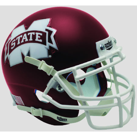 Mississippi State Bulldogs Satin Maroon Schutt XP Mini Helmet - Alternate 5