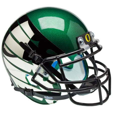 Oregon Ducks Thunder Green Wing Logo Schutt XP Mini Helmet - Alternate 6