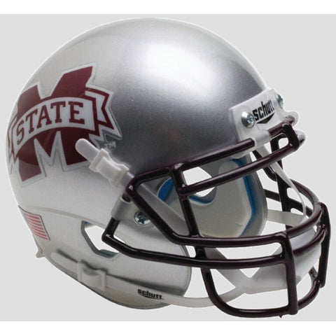 Mississippi State Bulldogs Silver Schutt XP Mini Helmet - Alternate 6