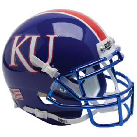 Kansas Jayhawks Blue with Chrome Mask Schutt XP Mini Helmet - Alternate 6