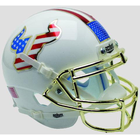 South Florida Bulls Patriotic Decals & Chrome Mask Schutt XP Mini Helmet - Alternate 6