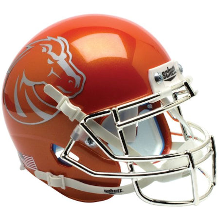 Boise State Broncos Orange with Chrome Mask Schutt XP Mini Helmet - Alternate 6