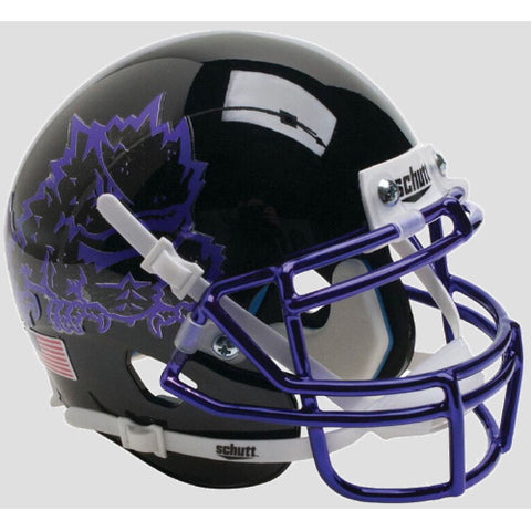 TCU Horned Frogs Black with Chrome Mask Schutt XP Mini Helmet - Alternate 7