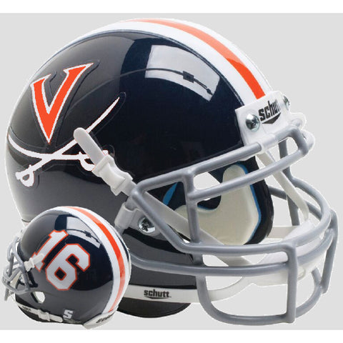 Virginia Cavaliers Blue 16 Schutt XP Mini Helmet - Alternate 7