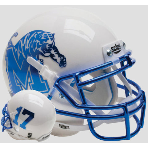 Memphis Tigers White with Chrome Mask Schutt XP Mini Helmet - Alternate 8