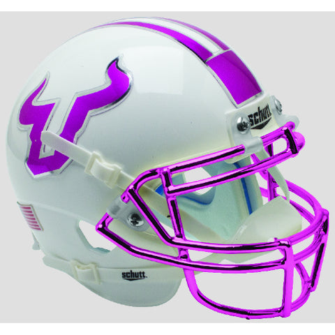 South Florida Bulls Purple Decals & Chrome Mask Schutt XP Mini Helmet - Alternate 8
