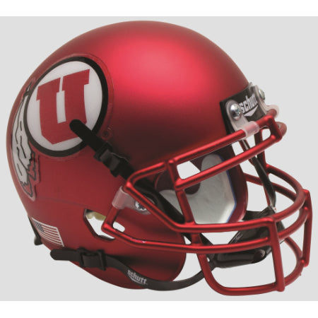 Utah Utes Satin Red Schutt XP Mini Helmet - Alternate 9