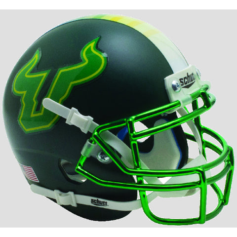 South Florida Bulls Matte Green with Chrome Mask Schutt XP Mini Helmet - Alternate 9