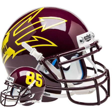 Arizona State Sun Devils Maroon with 85 Schutt XP Mini Helmet - Alternate 9