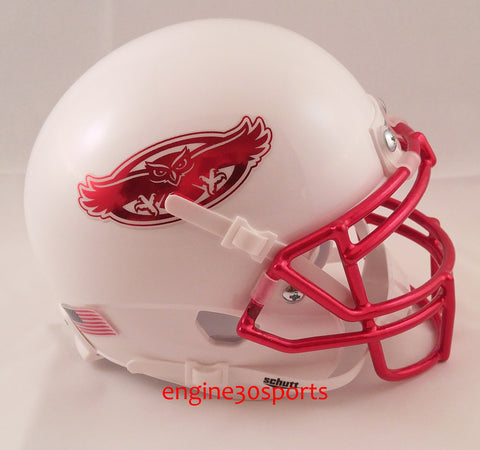 Florida Atlantic Owls White with Chrome Facemask Schutt XP Mini Helmet - Alternate 2