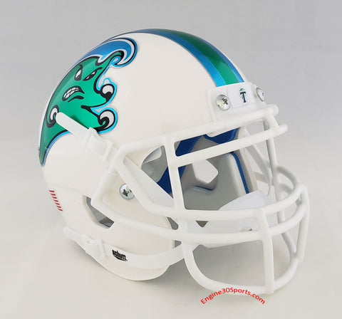 Tulane Green Wave Angry Wave Schutt XP Mini Helmet - Alternate 2
