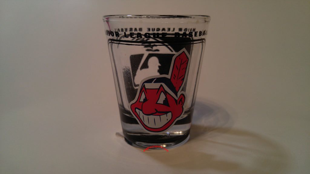 Cleveland Indians Chief Wahoo 2oz. Hi-Def Shot Glass - Blue Background