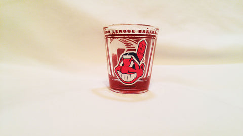 Cleveland Indians Chief Wahoo 2oz. Hi-Def Shot Glass - Red Background