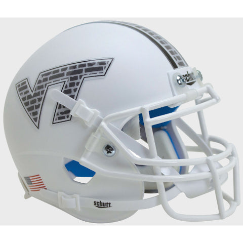 Virginia Tech Hokies White Hokie Stone Schutt XP Mini Helmet - Alternate 13