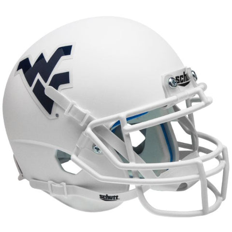 West Virginia Mountaineers Matte White Schutt XP Mini Helmet - Alternate 3