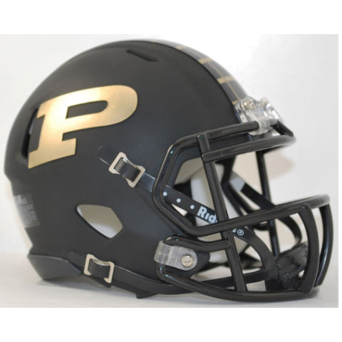 Purdue Boilermakers Riddell Speed Mini Helmet - Matte Black Alternate