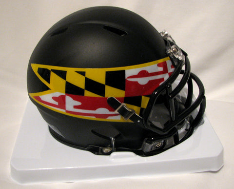 Maryland Terrapins Black Shell with Flag Decal Riddell Speed Mini Helmet
