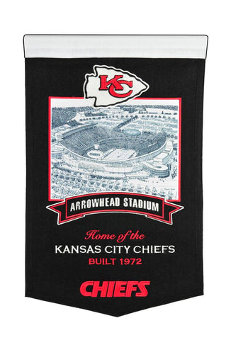 "Kansas City Chiefs 20""x15"" Wool Stadium Banner - Arrowhead Stadium"