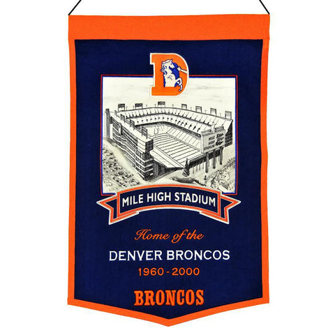 "Denver Broncos 20""x15"" Wool Stadium Banner - Mile High Stadium"