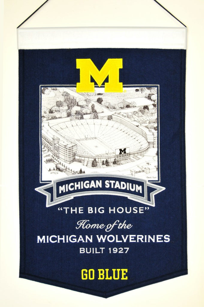 "Michigan Wolverines 20""x15"" Wool Stadium Banner - The Big House"