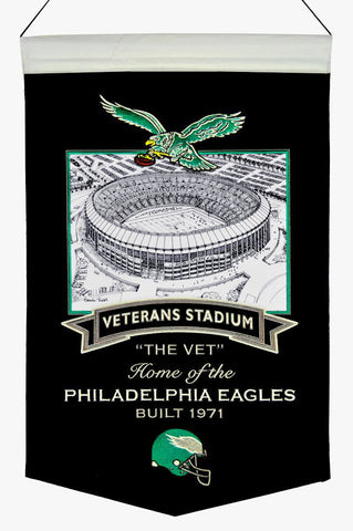 "Philadelphia Eagles 20""x15"" Wool Stadium Banner - Veterans Stadium"