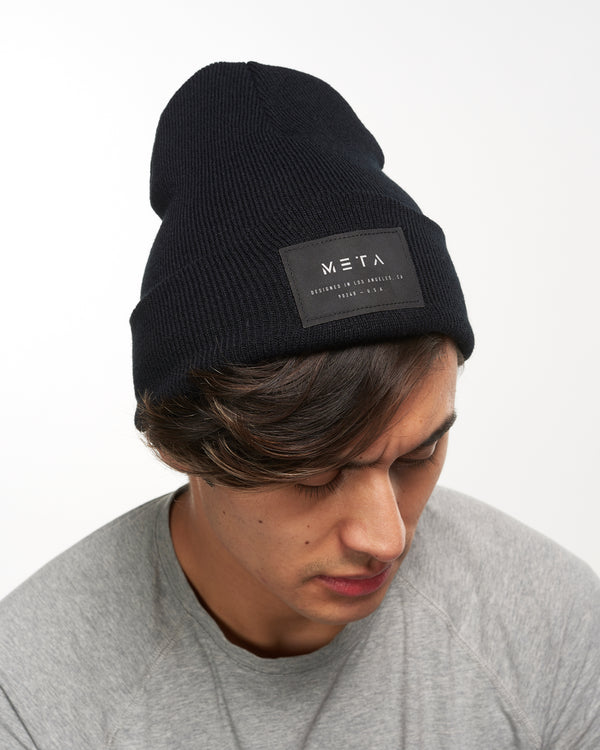 3M Reflective Patch Beanie Black