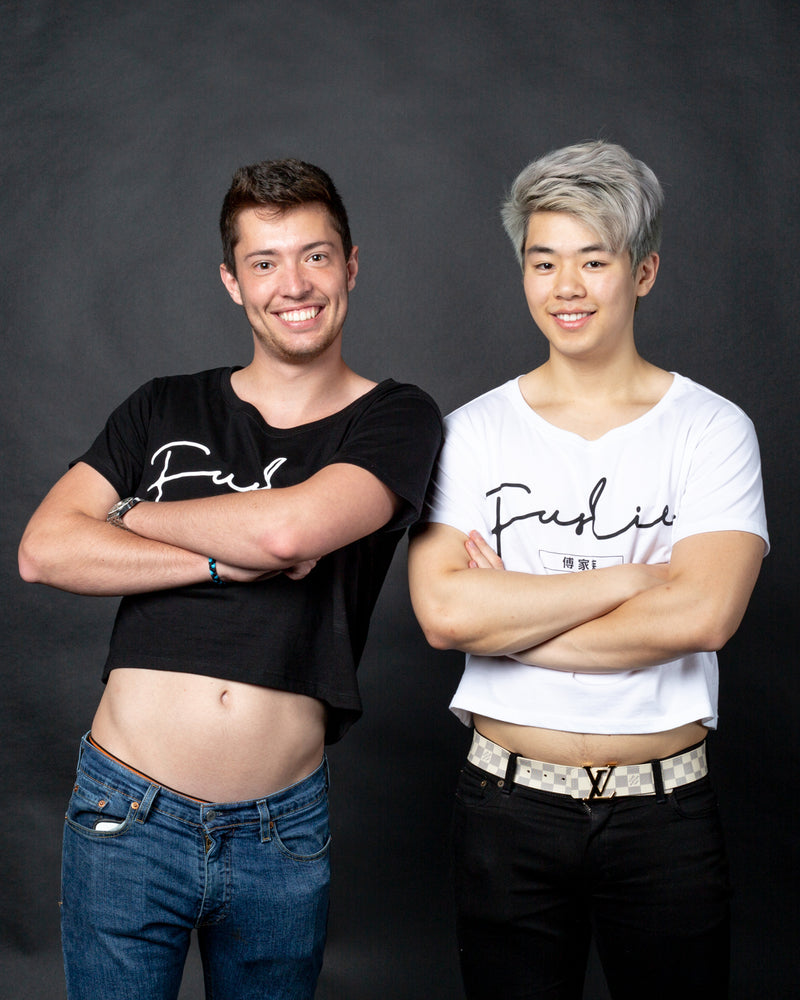 Fuslie White Crop Tops - Signature Collection