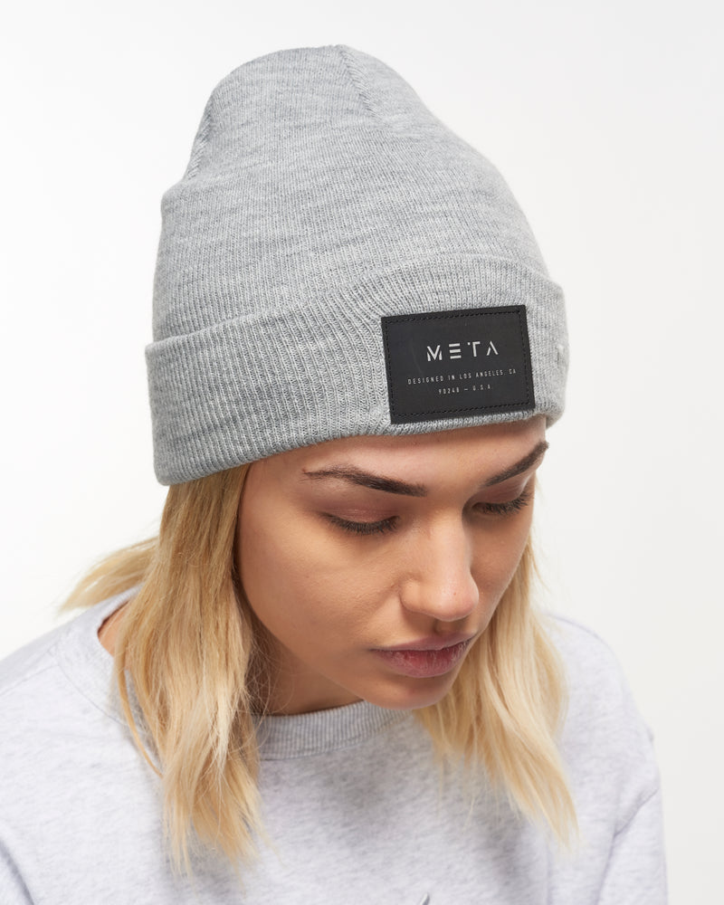 3M Reflective Patch Beanie Heather Gray