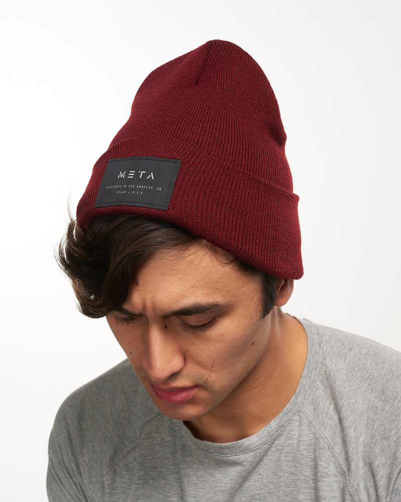 3M Reflective Patch Beanie Maroon