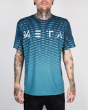 "Meta Threads ""Waves"" Blue DryFit Tee"