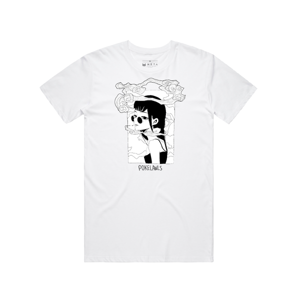 "Pokelawls ""Smoke"" White Tee"