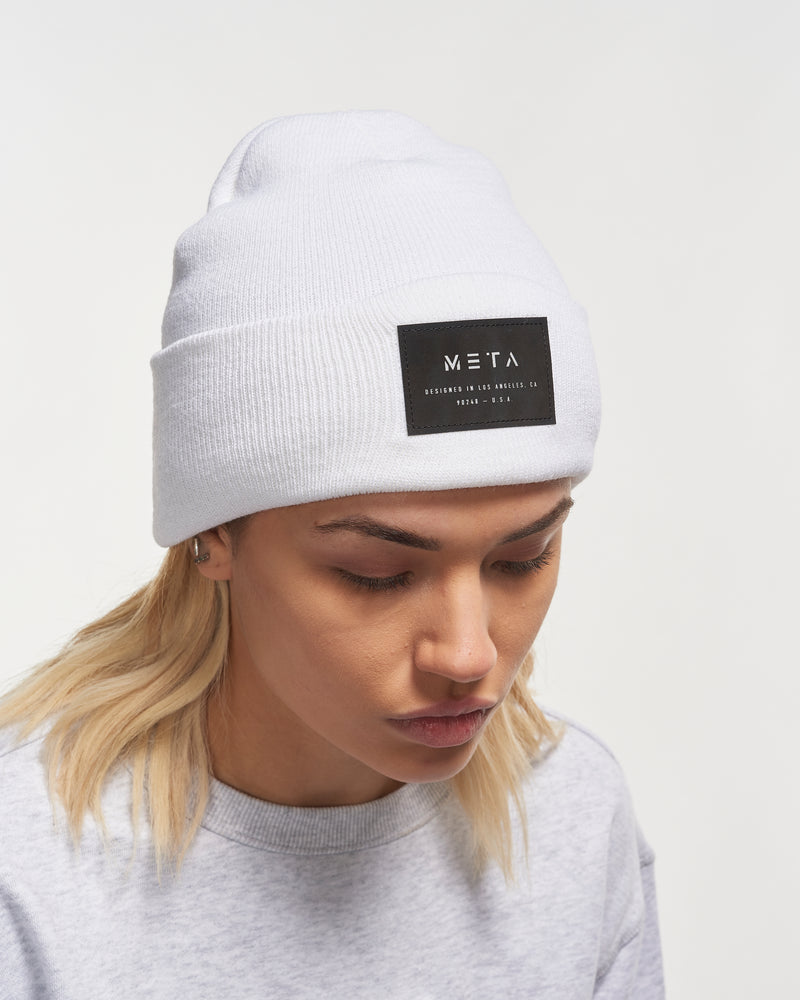 3M Reflective Patch Beanie White