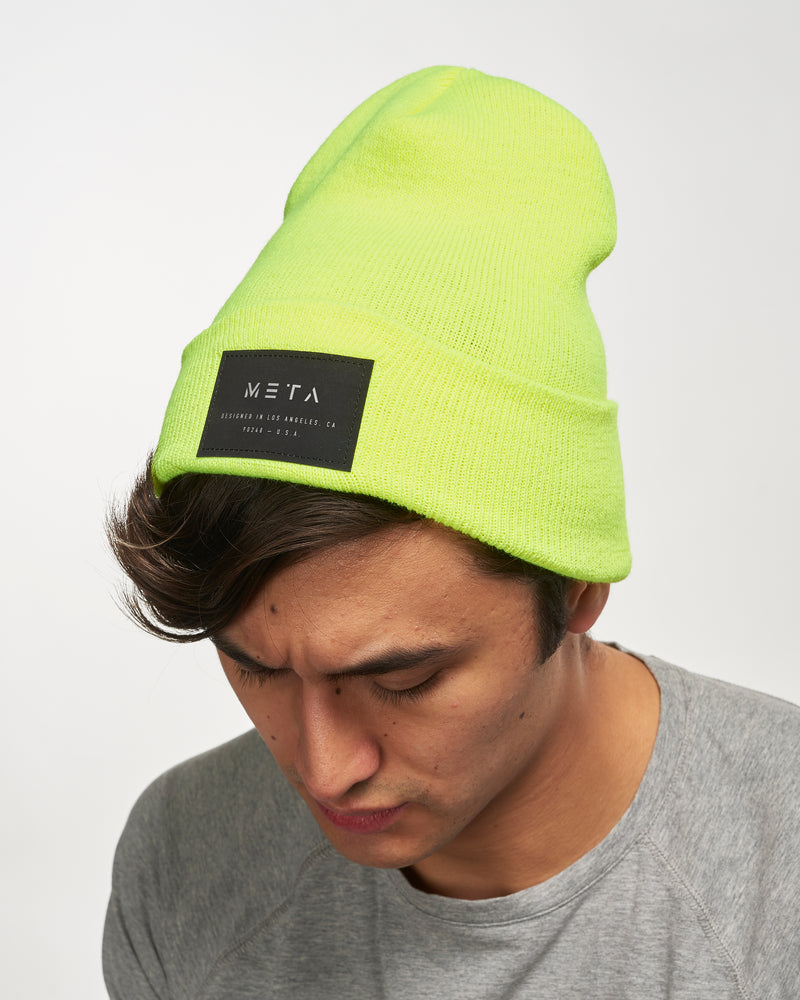 3M Reflective Patch Beanie Neon